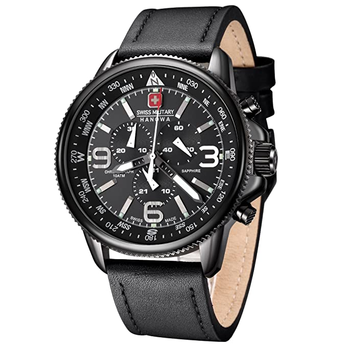 Amazon.com: Swiss Military 6-4224-13-007 Mens Arrow Chrono Black IP Watch: Swiss Military Hanowa: Watches