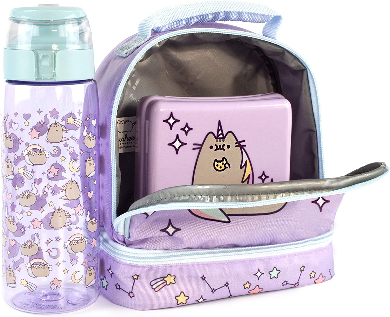 Pusheen Unicorn Lunch Box Set di portabottiglie e snack porta arcobaleno viola