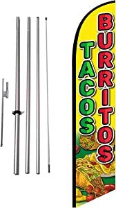 Tacos Burritos Mexican Restaurant Advertising Feather Banner Swooper Flag Sign with Flag Pole Kit and Ground Stake, Red Yellow Theme