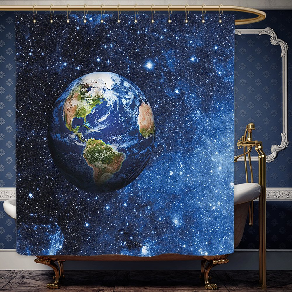 Wanranhome Custom-made shower curtain Space Outer View of Planet Earth in Solar System with Stars Life on Globe Themed Image Blue Green For Bathroom Decoration 72 x 108 inches