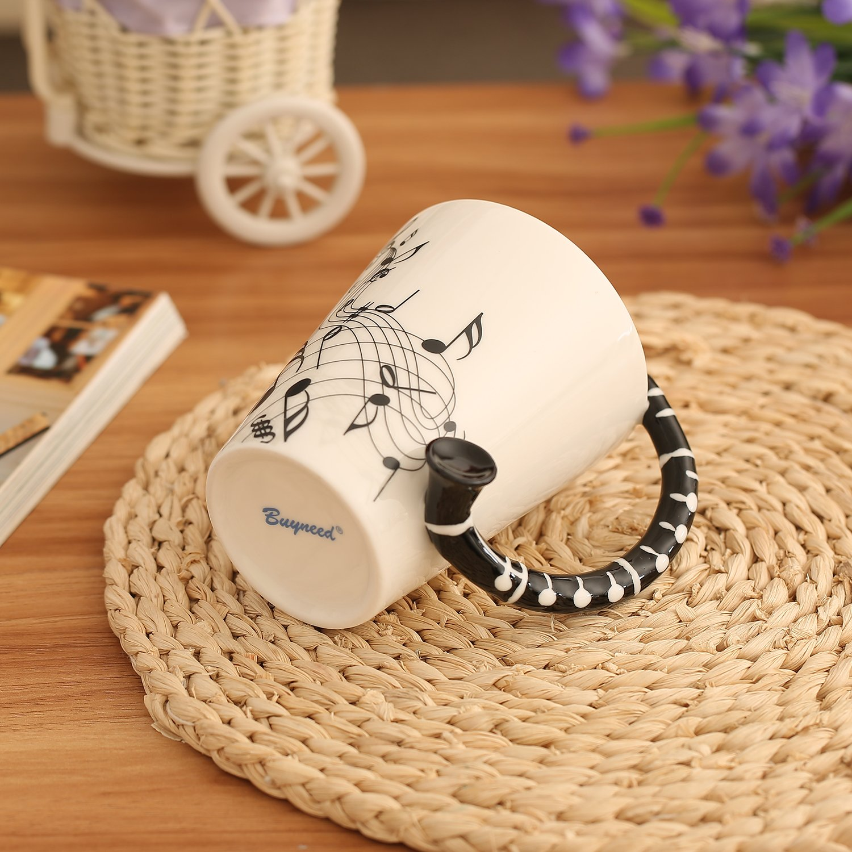 12.9 Oz Musical 3D Handle Mug Music Note Coffee Mugs Ceramic Music Cup Mug Gifts for Music Players Musicians,Black
