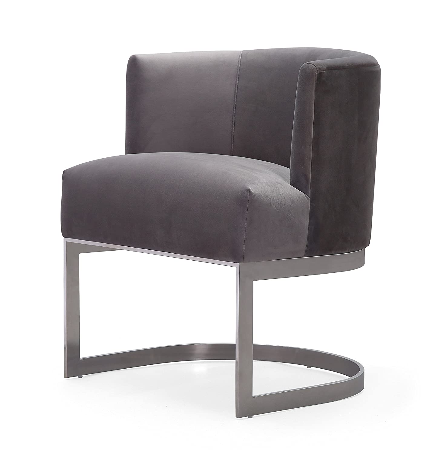 Amazon Com Tov Furniture Tov L6131 Velvet Accent Chair Small Gray
