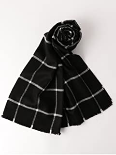 Merino Wool Scarf Windowpane 3136-343-0331: Black