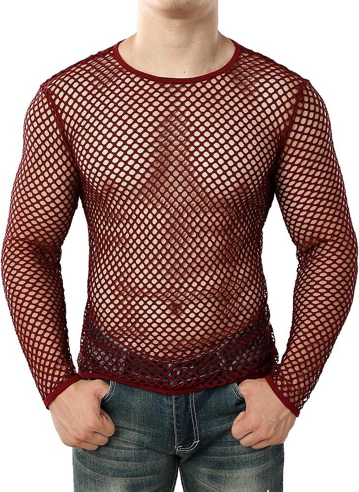 Jogal - Camiseta interior de malla transparente para hombre borgoña S: Amazon.es: Ropa y accesorios