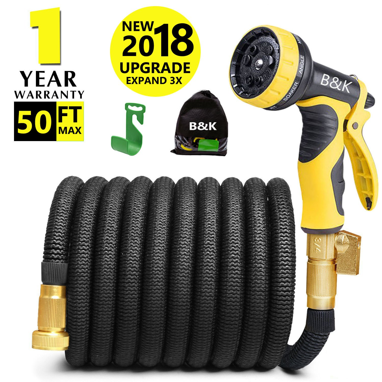 Garden Hose, Lightweight Expandable Water Hose Set,Outdoor Expanding Flexible Double Latex Core Yard Hose with 3/4 Solid Brass Fitting,9 Functions Spray Nozzle and Hanger