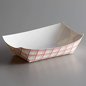 Lightweight Disposable Paper Food Tray – 3Lb Eco Friendly Versatile – Great for Serving Fried Food, Fruits Veggies – Serving Boats for Concession Food & Condiments Paperboard (Red Check, 25)