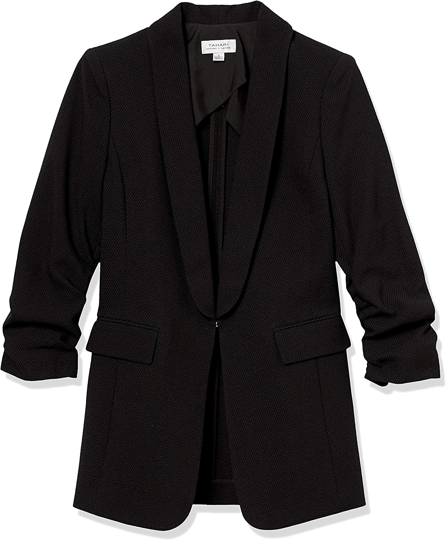 Tahari ASL Womens Scrunched Sleeve Jacket