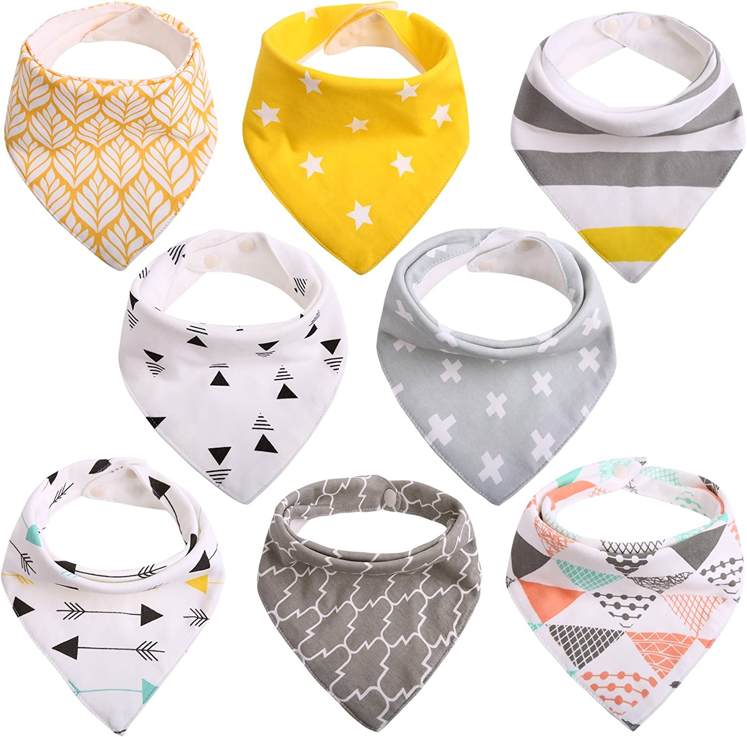 Baby Dribble Bibs Bandana for Girls Boys Unisex Set Cotton Gift Pack for Teething Fit Newborn Toddlers Soft Absorbent with Adjustable Snap Closure Stylish Pattern Model 02 Pack of 8 by CIT/ÉTOILE