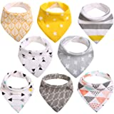 Baby Dribble Bibs Bandana for Girls Boys Unisex Set Cotton Gift Pack for Teething Fit Newborn Toddlers Soft Absorbent with Adjustable Snap Closure Stylish Pattern (Pack of 8) by CITÉTOILE (Model 01)