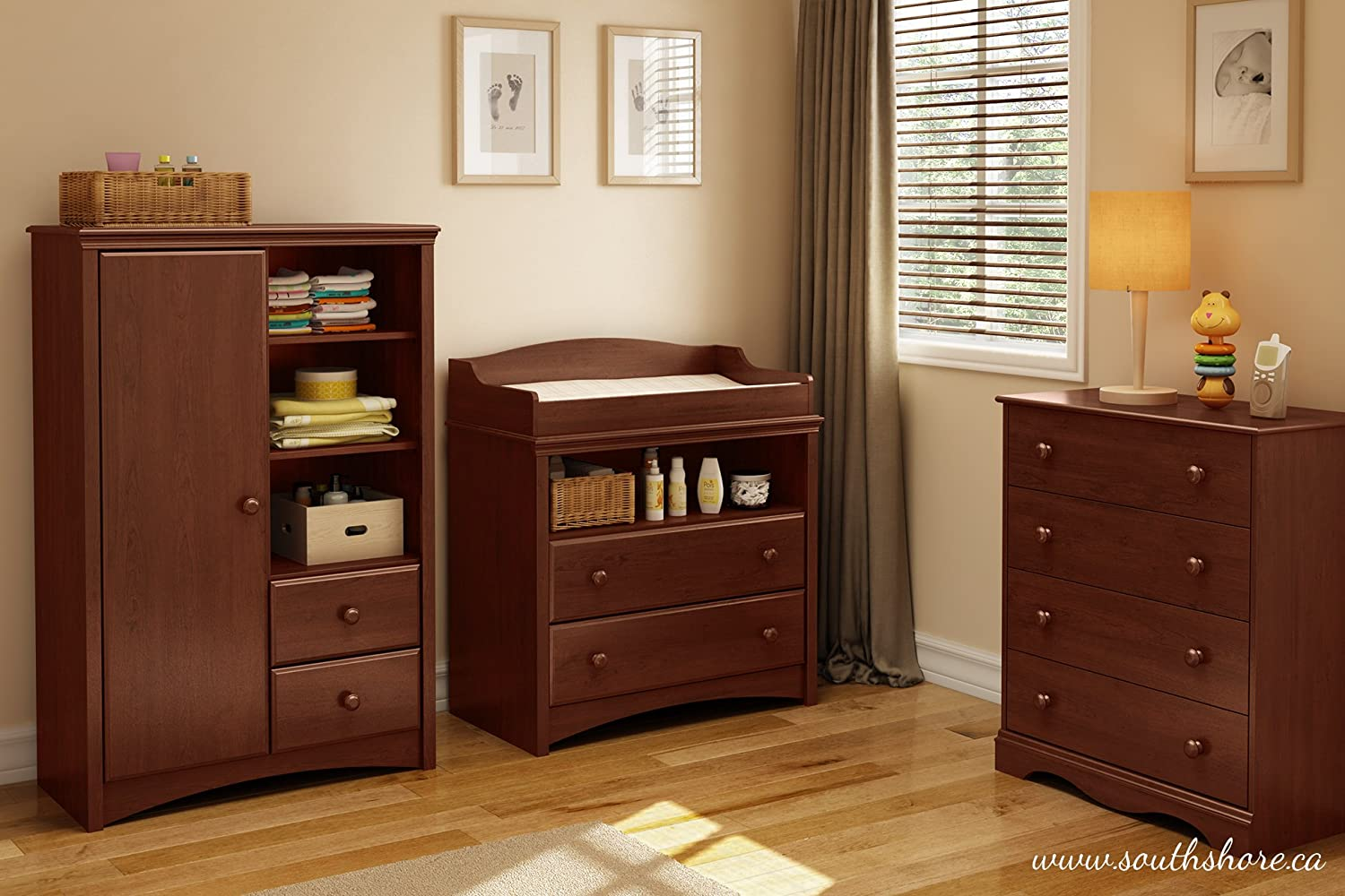 Amazon.com : South Shore Furniture, Sweet Morning Collection, Changing Table,  Royal Cherry : Baby Changing Table : Baby