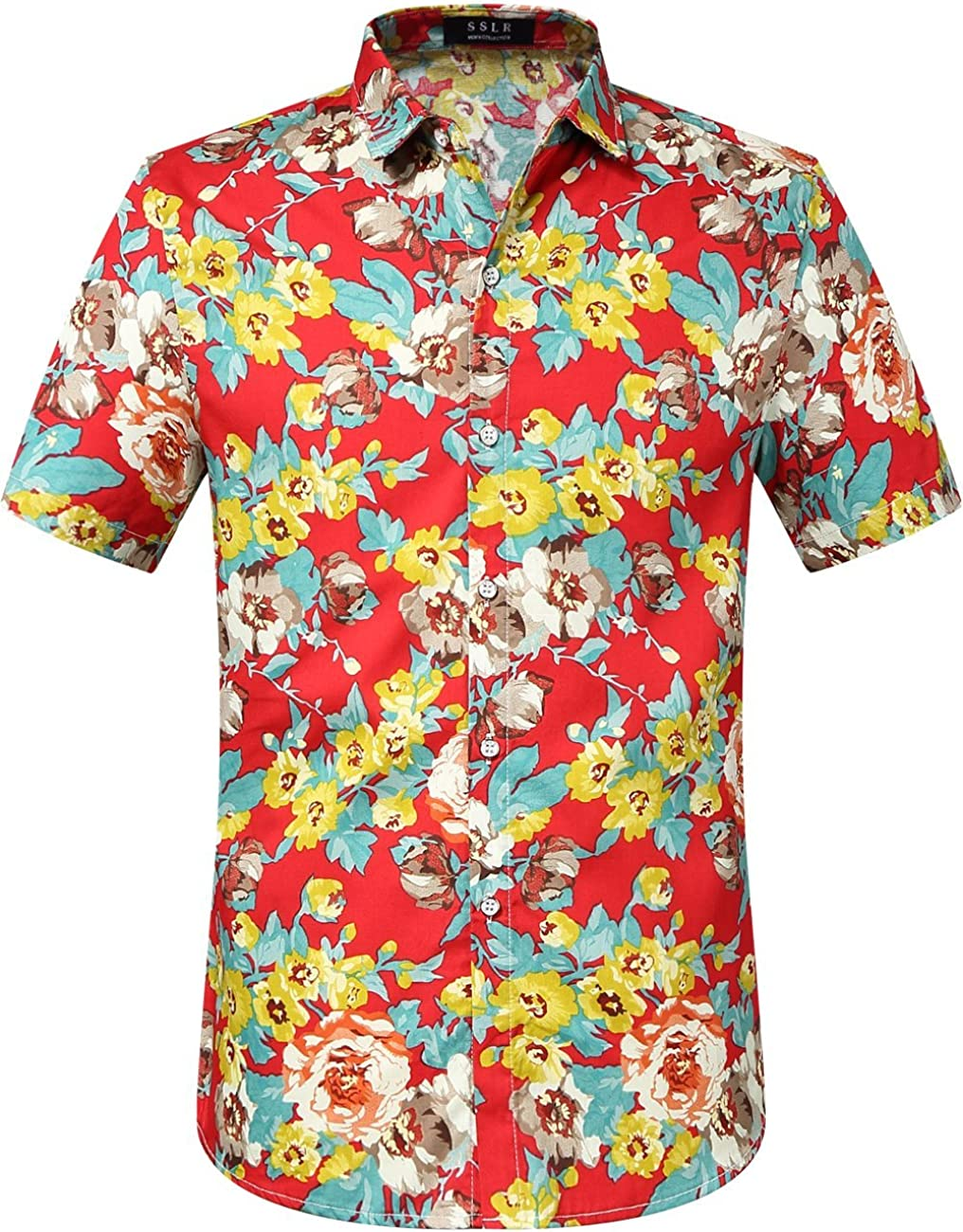 SSLR Camisa Hawaiana Colorida de Manga Corta de Estampado de Flores 3D Tropicales de Verano para Hombre (Small, Rojo): Amazon.es: Ropa y accesorios