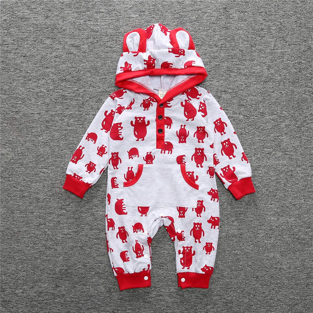 FOROOM 2019 New Baby Boys Girls Jumpsuit Long Sleeve Cute Animal Pattern Hoodie Romper