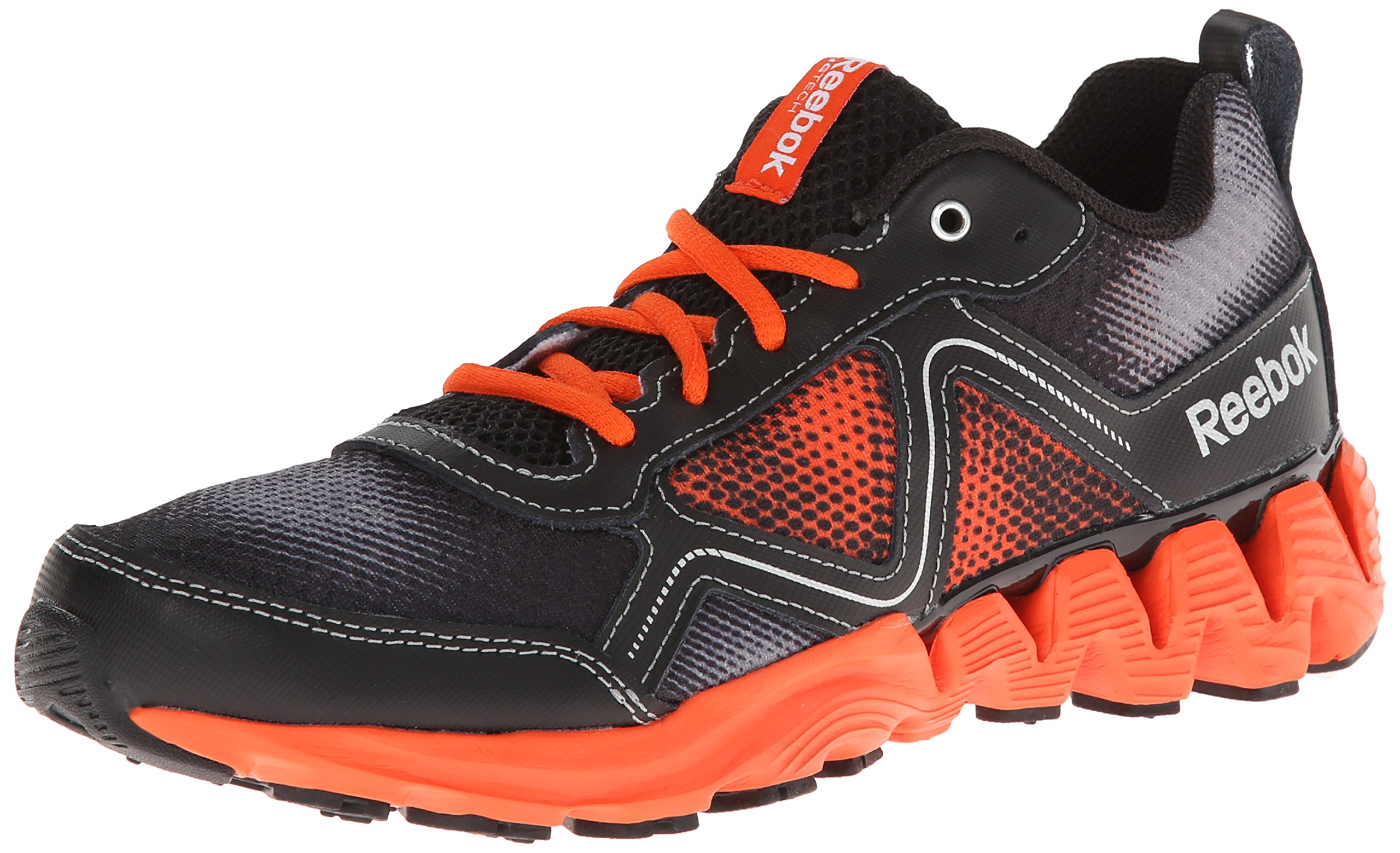 Reebok Zigkick Wild Running Shoe,Flat Grey/Flux Orange/Black/Silver Metallic,12.5 M US Little Kid