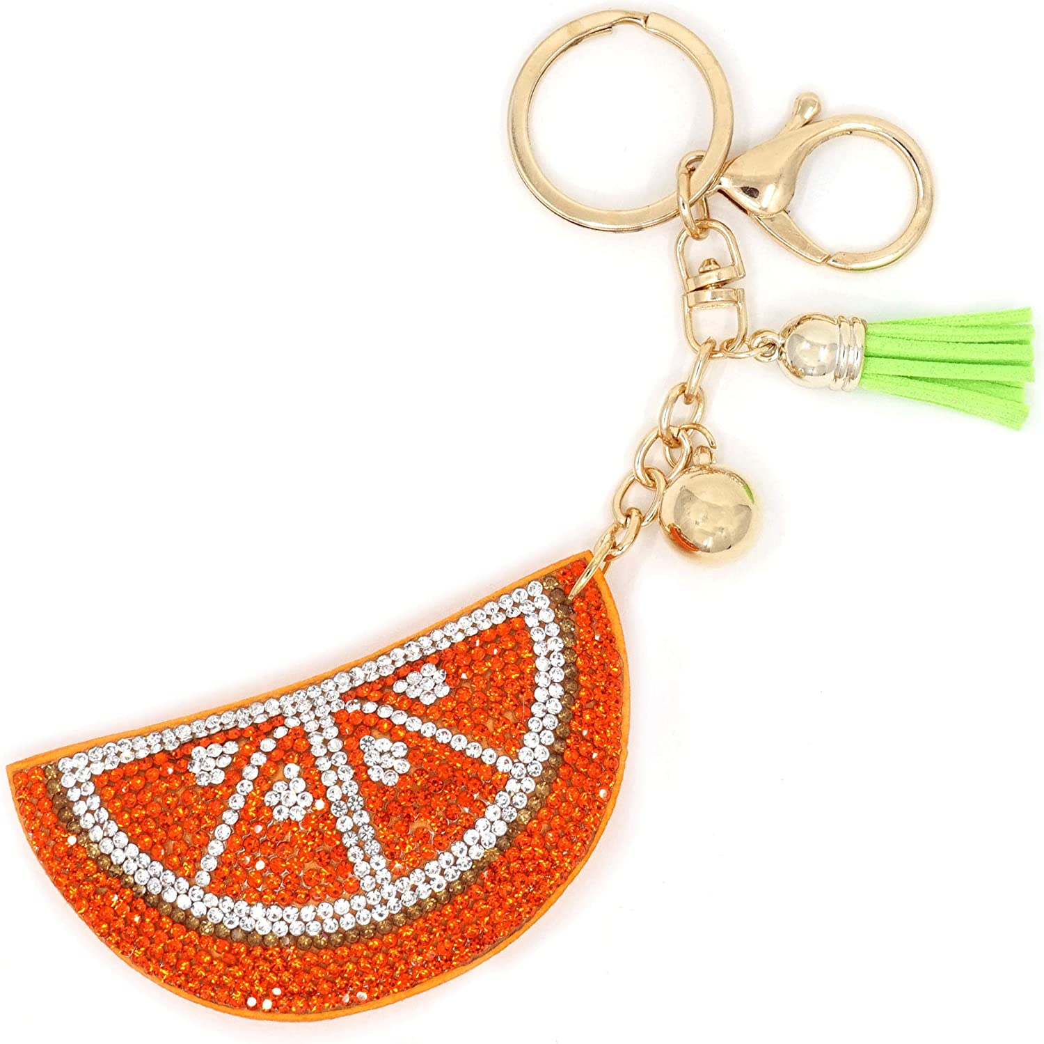 Teri's Boutique Strawberry Apple Pineapple Orange Watermelon Fruit Love Rhinestone Cushion Pendant Charm Keychain