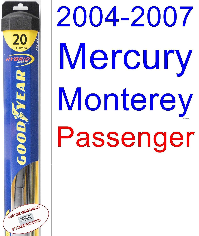 Amazon.com: 2004-2007 Mercury Monterey Wiper Blade (Rear) (Goodyear Wiper Blades-Hybrid) (2005,2006): Automotive