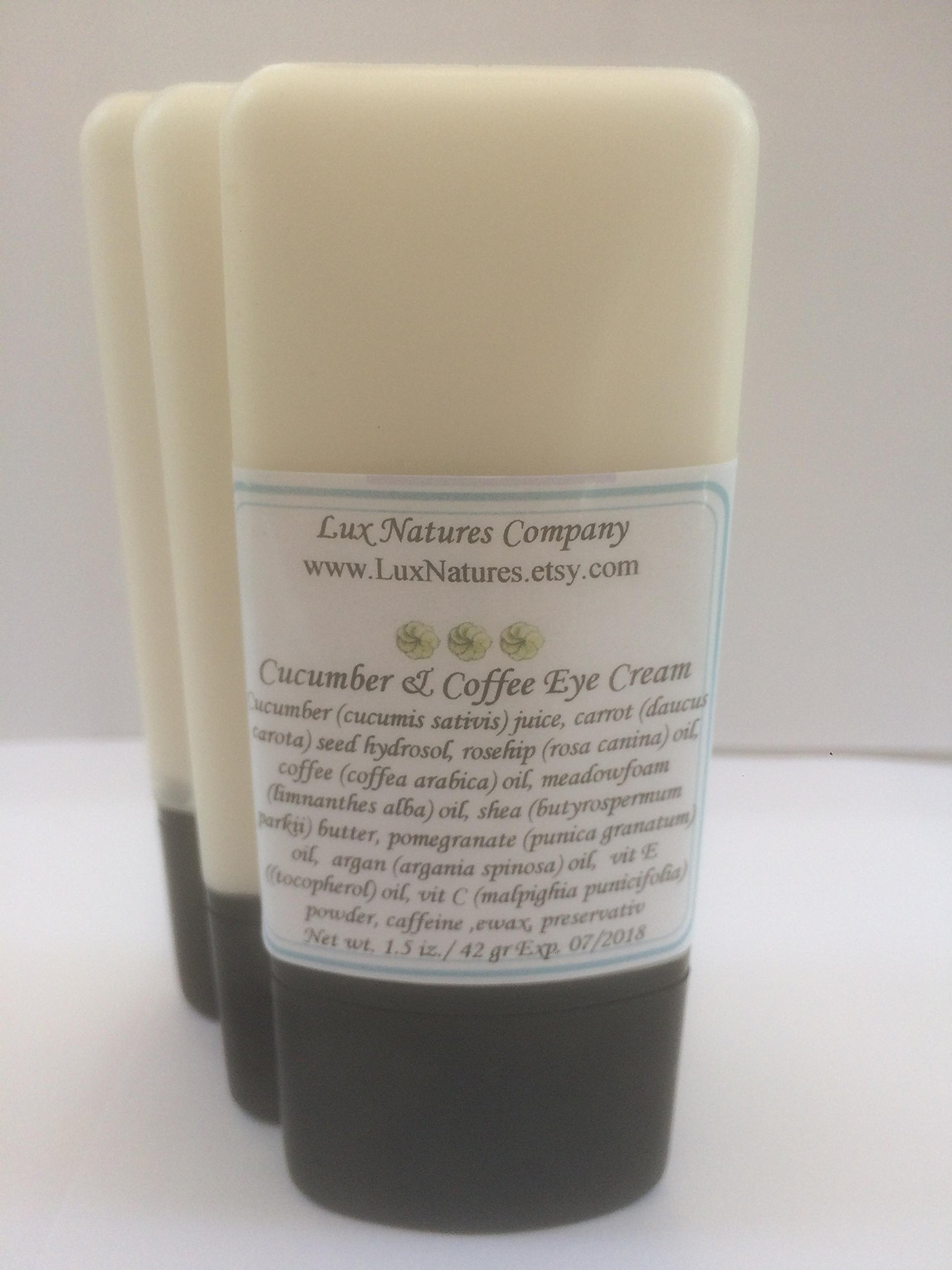 Coffee Cucumber Under Eyes Cream- Morning Eye Cream- Dark Circles Cream- Puffy Eyes Cream- Free Shipping