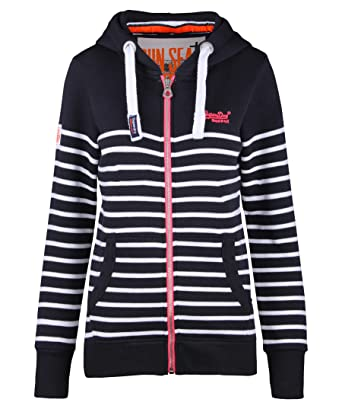 f375900ba1 Superdry Zipper Women SUN + SEA ZIPHOOD Navy White Stripe, Größe:XL ...