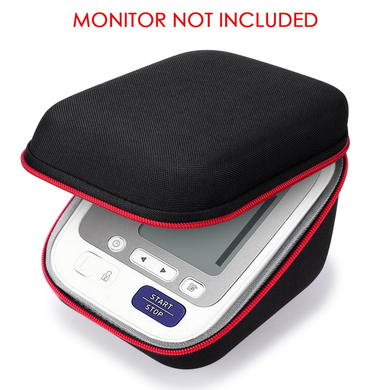 SKYNEW - Funda de protección de viaje compatible con Omron BP742N 5 brazos monitor de presión arterial, compatible con USB y cargador, color negro: ...