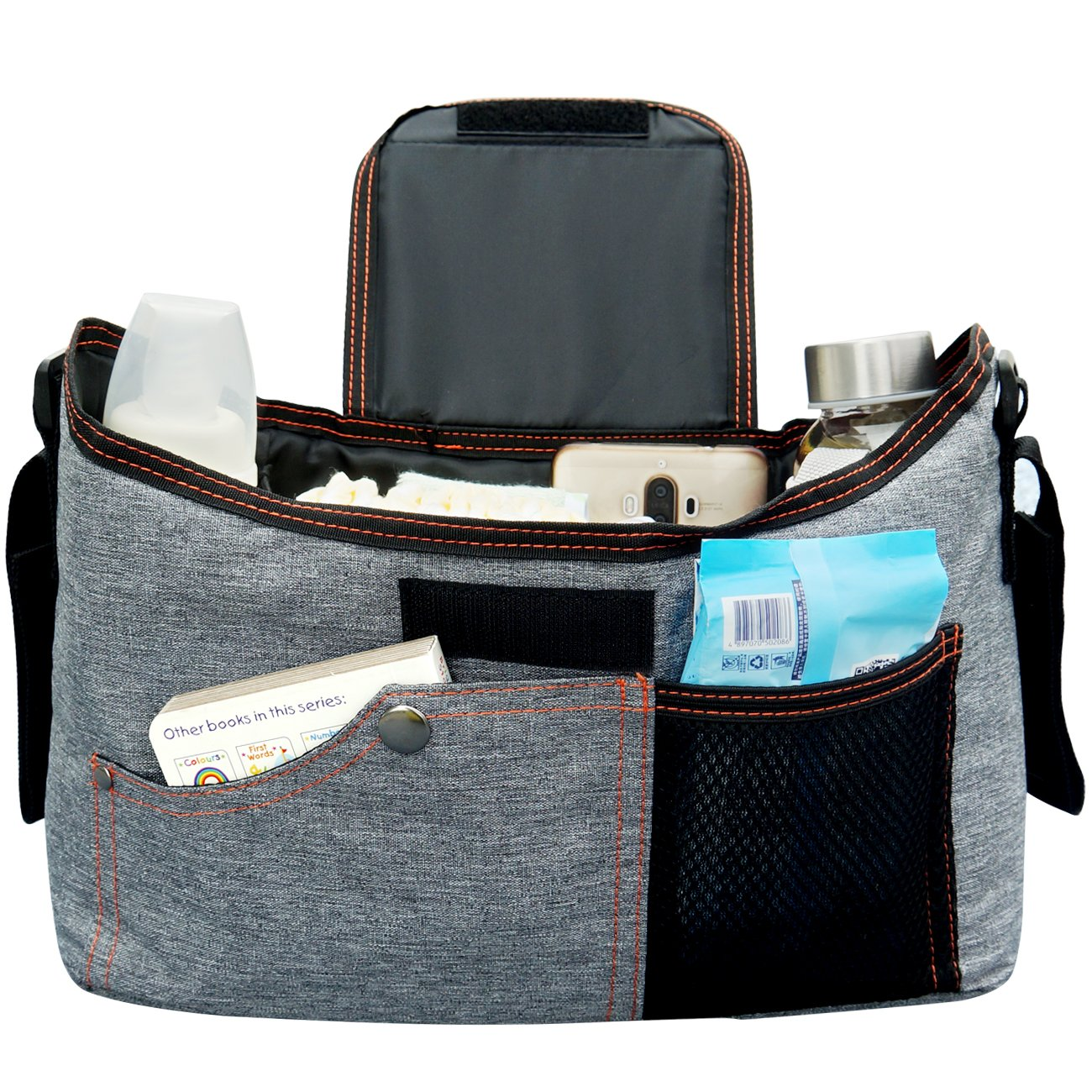 BlueSnail Stroller Bag Fits Stroller Organizer - Extra-Large Storage Space for iPhones, Wallets, Diapers, Books, Toys, iPads (Grey) by BlueSnail (Image #2)