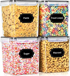 Airtight Food Storage Containers with Lids, PRAKI 4PCS Leak-Proof Plastic Kitchen & Pantry Organization Containers Set for Cereal, Flour and Baking Supplies - 20 Labels & 1 Marker (4.3L Black)