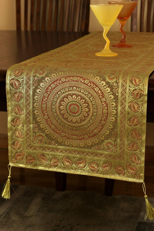 Banarsi Designs Exotic Oriental Table Runner (116'' X 16'', Dark Gold) by Banarsi Designs