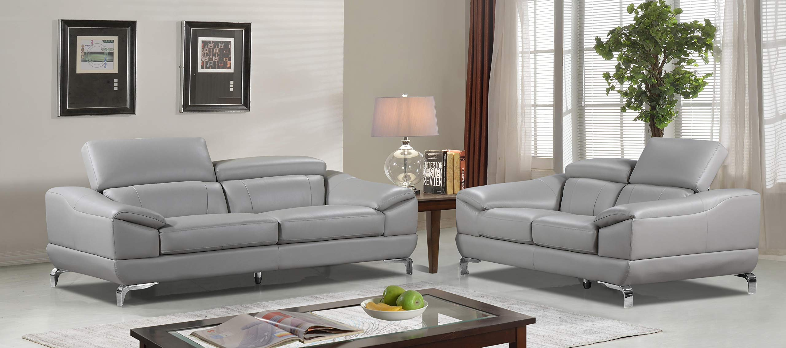 Cortesi Home Vegas Genuine Leather Sofa & Loveseat Set with Adjustable Headrests, Grey by Cortesi Home