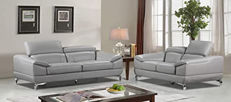 Brilliant Cortesi Home Vegas Genuine Leather Sofa Loveseat Set With Adjustable Headrests Grey Unemploymentrelief Wooden Chair Designs For Living Room Unemploymentrelieforg