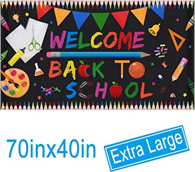 "Welcome Back To School Banner - Extra Large Fabric 8"" X 8"" - First Day Of  School Backdrop Banner - Welcome Back To School Party Decorations Supplies"