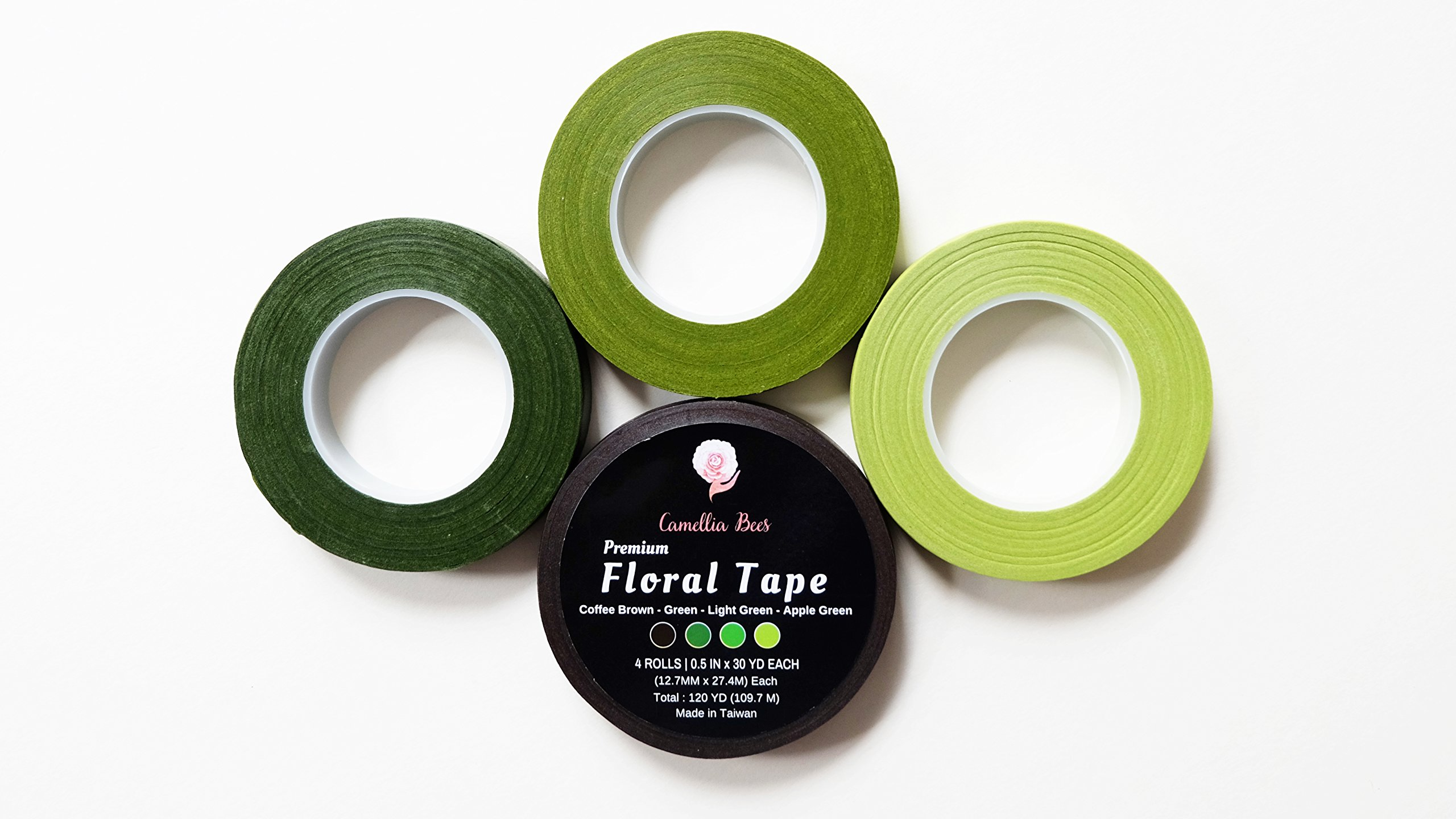 4 Rolls 1/2'' by 120 Yard Premium Quality Floral Tape, Self-Sealing, Adhesive,4 Colors - Apple Green, Light Green, Green,Coffee Brown for stem wrap w/'How to use Floral Tape and Succulent Decor' ebook