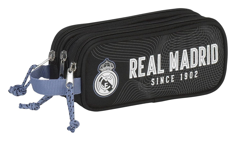Real Madrid Estuche portatodo Triple (SAFTA 811757635), Color Negro & ampUacutenica