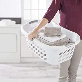 product image for Sterilite 12108006 1.25 Bushel/44 Liter Ultra Hip Hold Laundry Basket, White Basket w/ Titanium Inserts, 6-Pack