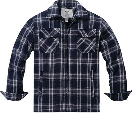 WenVen Camisa de Cuadros con Forro de Sherpa al Aire Libre para Hombre Azul Marino Small: Amazon.es: Ropa y accesorios