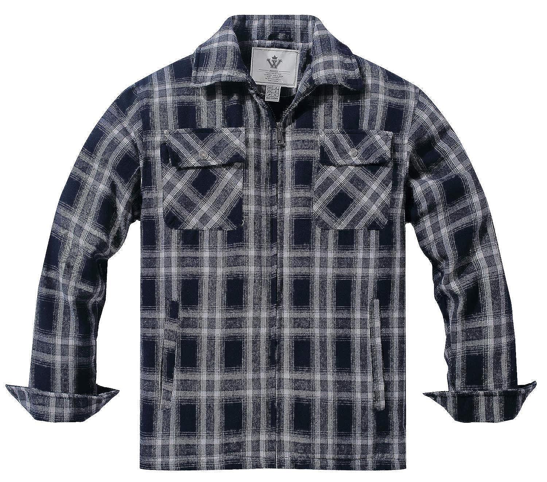 TALLA L. WenVen Camisa con Forro de Sherpa al Aire Libre para Hombre