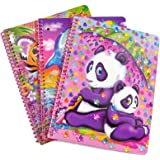 Lisa Frank Panda, Dolphin, Tiger Cub Theme Spiral Notebook Bundle of 3 Notebooks 10.5 x 8 Inches