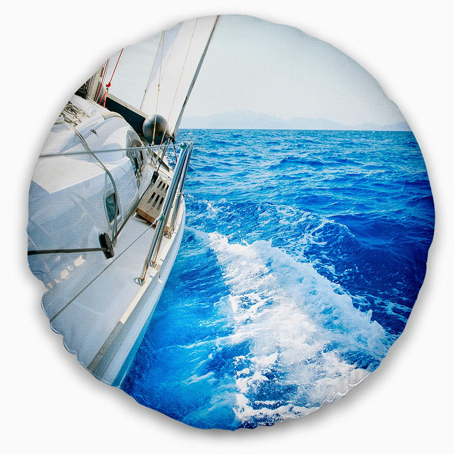 Designart Cu14262 20 20 C White Sailing Yacht In Blue Sea Seashore Round Cushion Cover For Living Room Sofa Throw Pillow 20 Insert Printed On Both Side Throw Pillow Covers Bedding