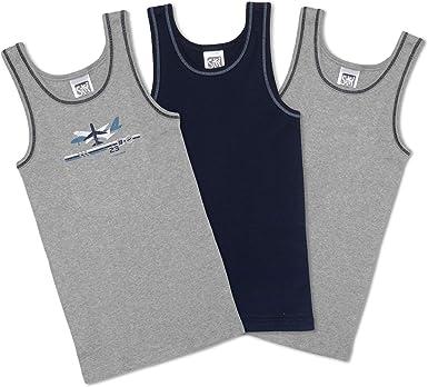 Sweety Pack of 3 Boys' Undershirts with Printed Aeroplane Without Sleeves  100% Cotton I Boys' Underwear Grey + Navy I Children's Underwear Size  128/140 / 152/164 / 176: Amazon.co.uk: Clothing