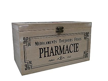 Khevga - Caja con tapa de madera y decoración con motivos de farmacia