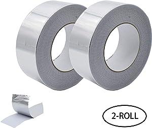 Aluminum Foil Tape, Aluminum Air Duct Tape, Professional Adhesive Aluminum Foil Tape for HVAC, Pipe, 2 inch x 55 Yard(3.9mil), 2-Roll Multi Pack