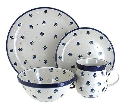 Polish Pottery Blueberry 4 Piece Dinner Set  sc 1 st  Amazon.com & Amazon.com: Polish Pottery Blueberry 4 Piece Dinner Set: Dinnerware ...