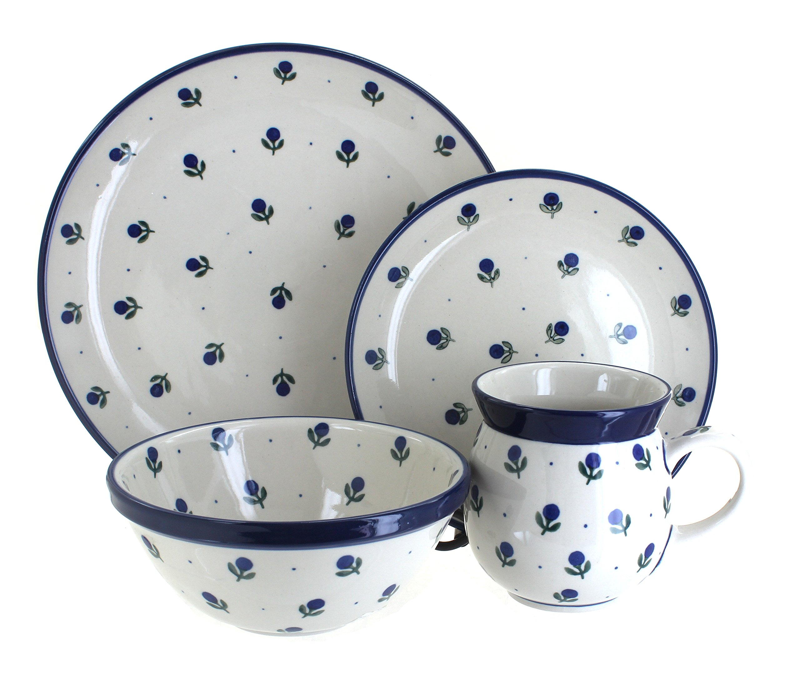 Polish Pottery Blueberry 4 Piece Dinner Set