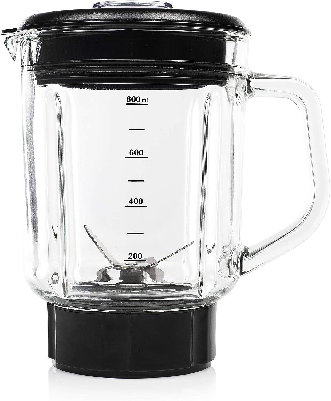 Princess 212078 Batidora compacta, jarra de cristal, capacidad 0.8 ...