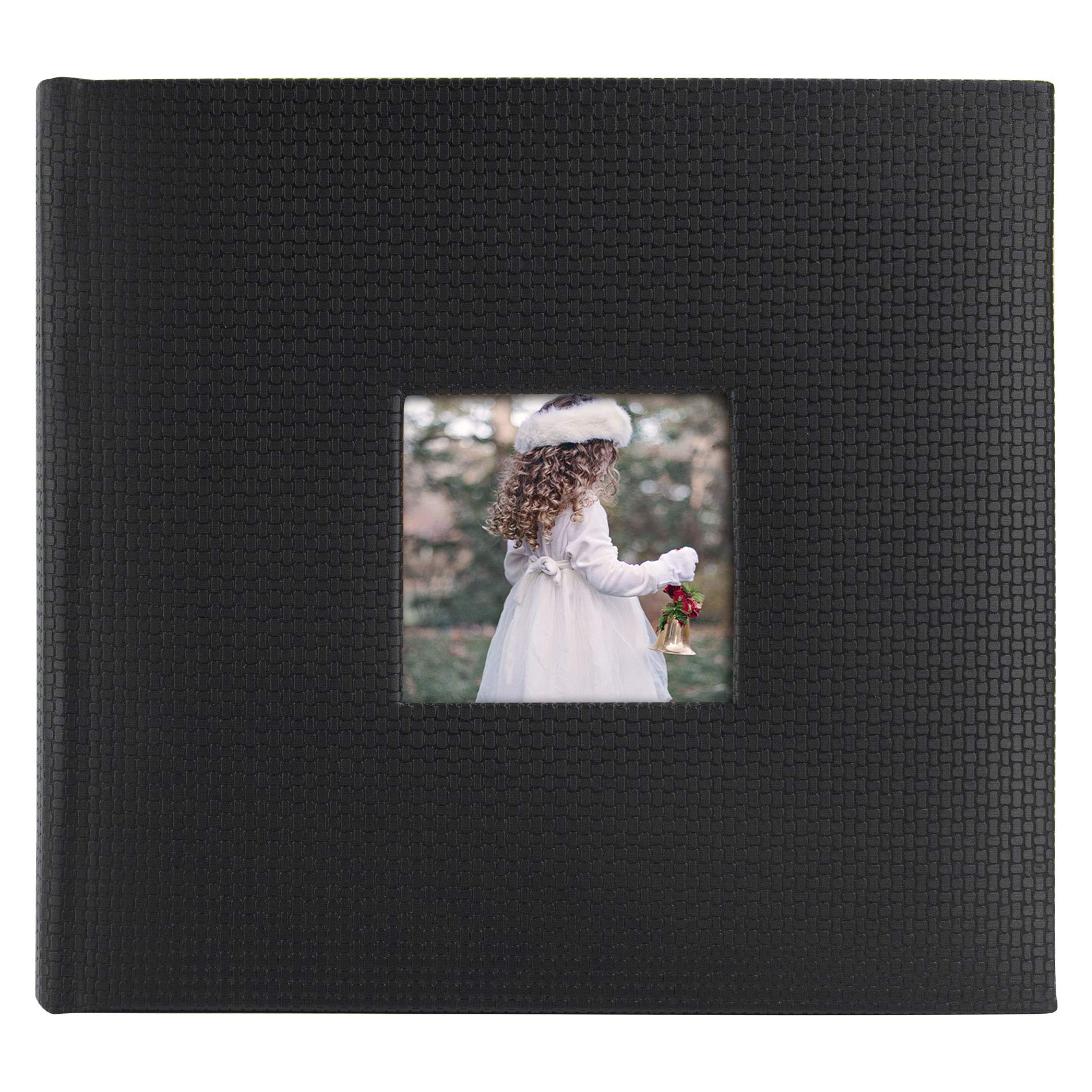 Golden State Art, Family Holiday Photo Album for Christmas, Vacation, Anniversary Photography Book for 200 4x6 Pockets with Memo, 2 Per Page Large Capacity (Embossed Faux Leather Cover - Black)