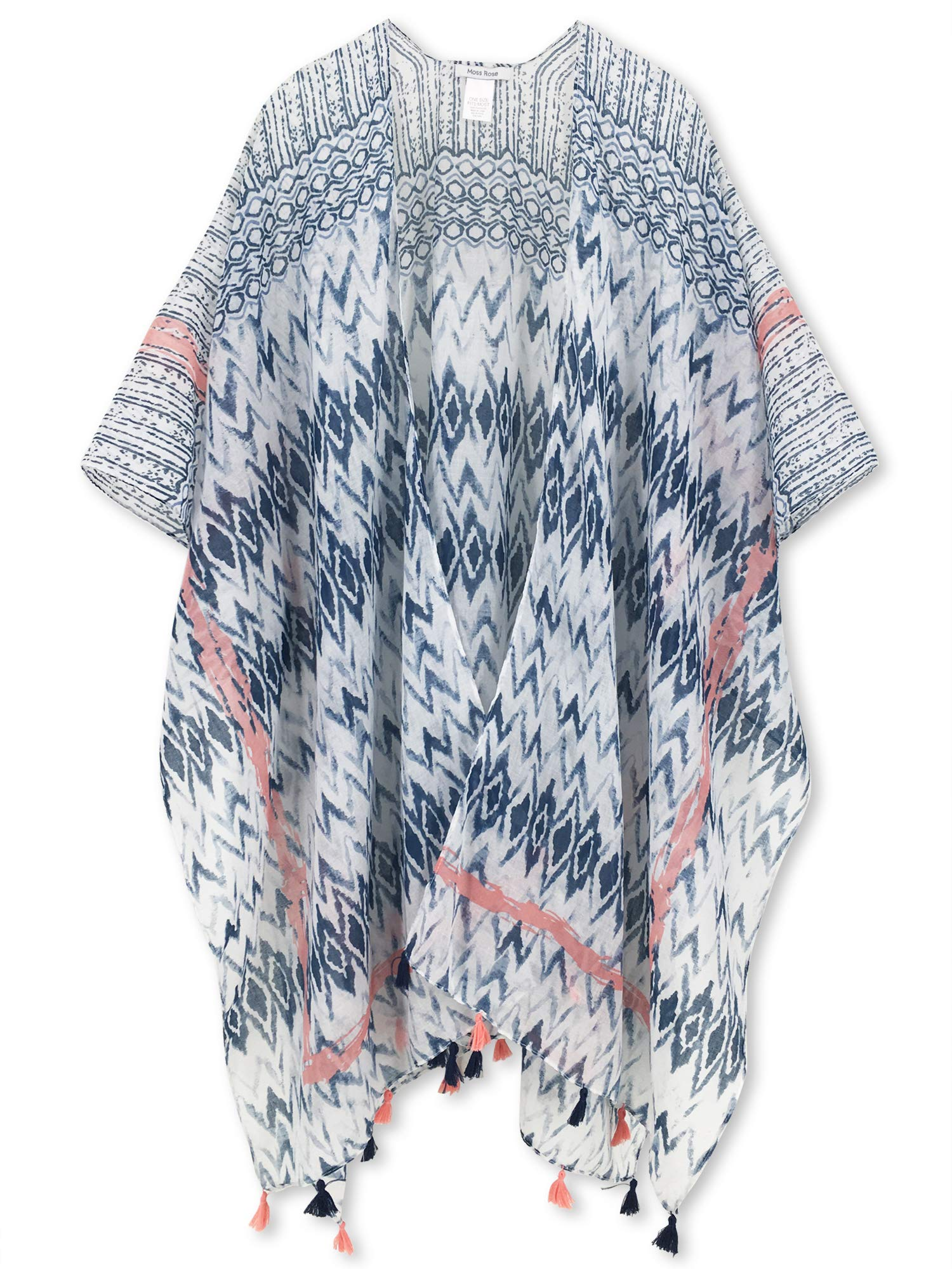 Moss Rose Women's Beach Cover up Swimsuit Kimono Cardigan with Bohemian Floral Print (Color 8)