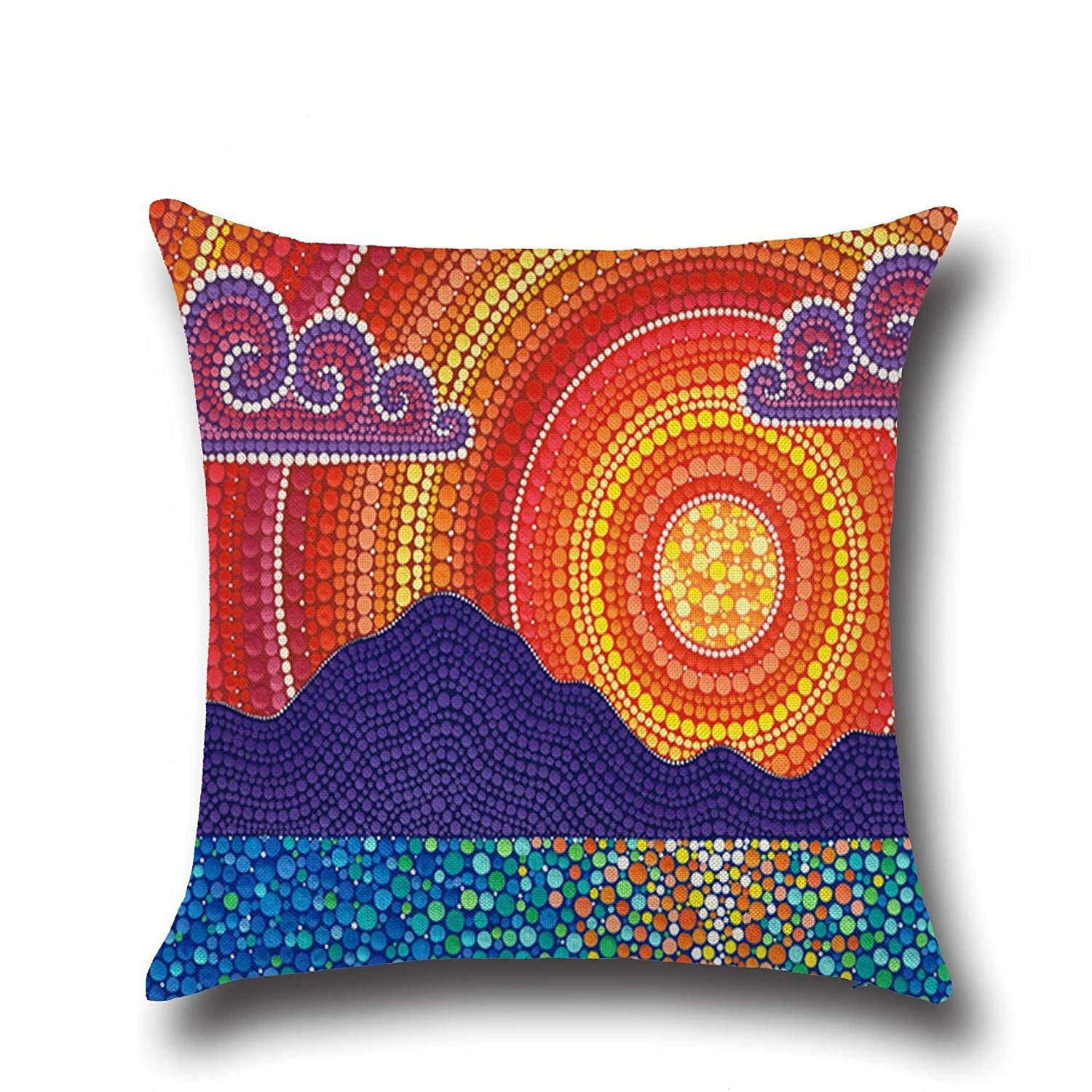 HOMEE Stylish and Fantastic Sunset Shanshui Flower-Pattern Cambodia and Thailand India Southeast Asia Style ,4545Cm,01 Pillow,01,4545cm