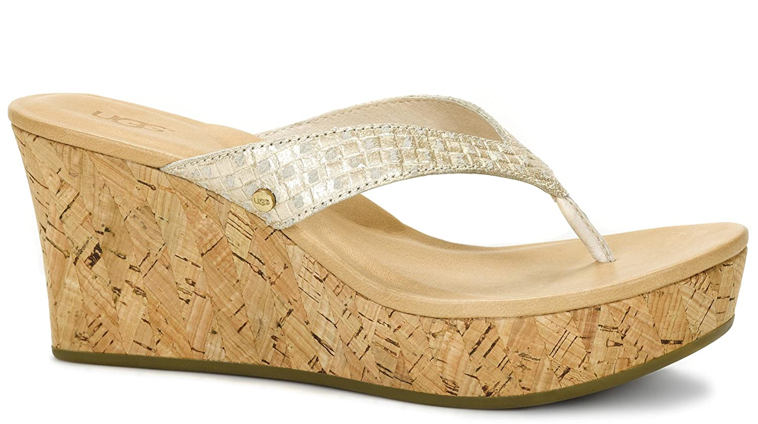 bd0753200e8 UGG Women's Natassia Metallic Basket Soft Gold Leather Sandal 5.5 B ...