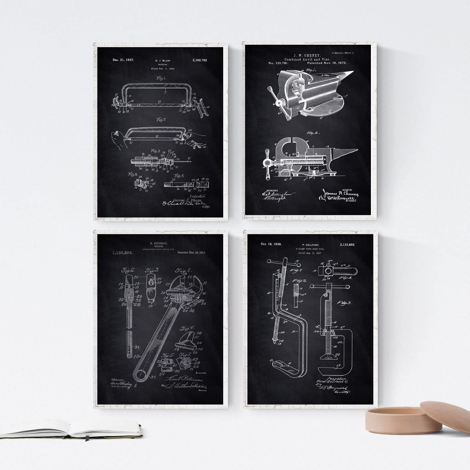 Nacnic Prints Vintage Patents Tools - Set of 4 - Unframed 8x11 inch Size - 250g Paper - Beautiful Poster Painting for Home Office Living Room