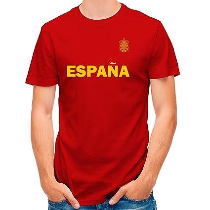 Lolapix Camiseta España Roja selección de fútbol Personalizada Nombre y Numero. Hombre
