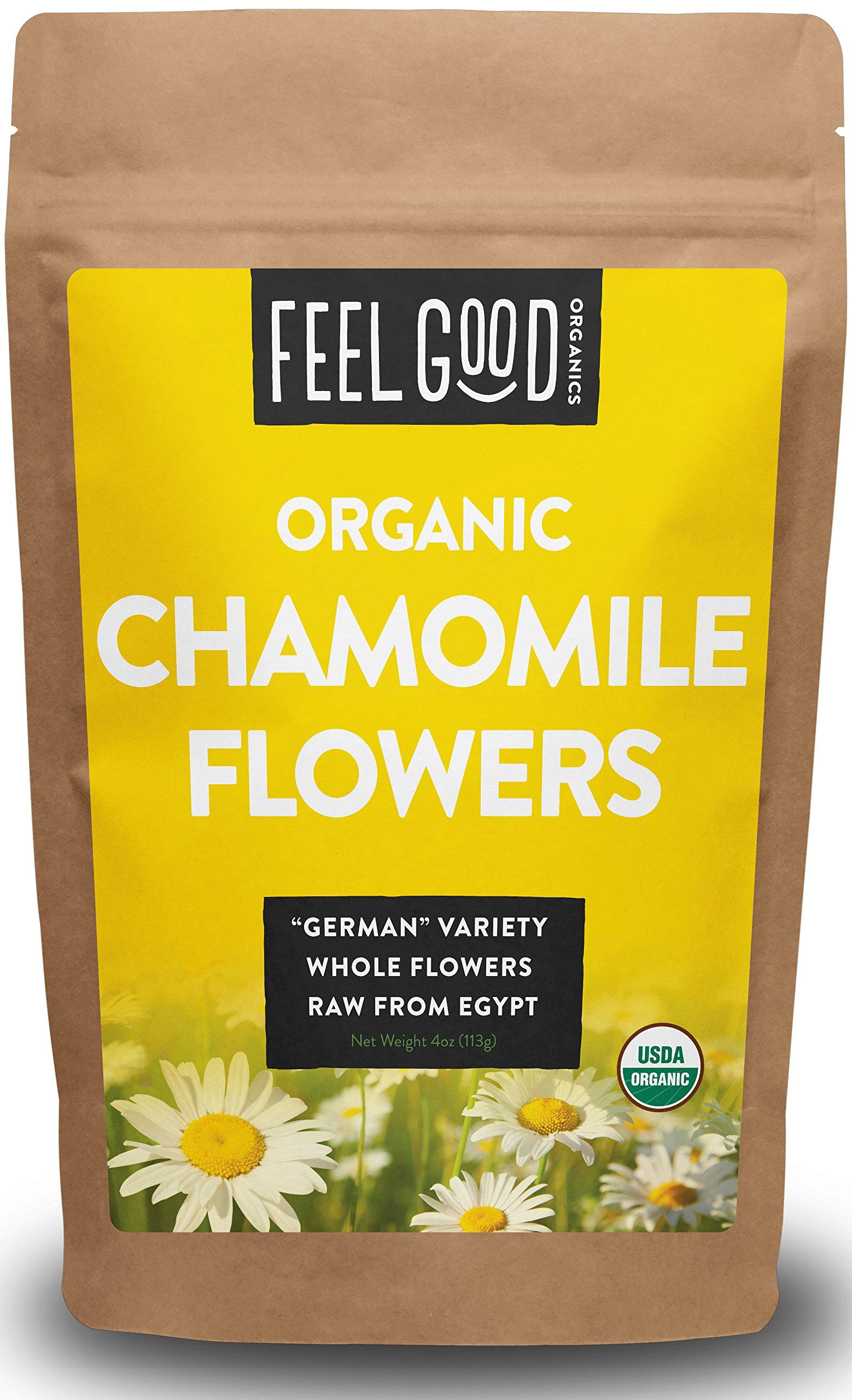 "Organic ""GERMAN"" Chamomile Flowers - 4oz Resealable Bag - 100% Raw From Egypt - by Feel Good Organics"