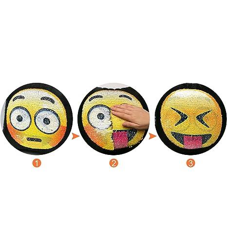 Proco® Sequin almohada | Emoji suquin almohada con cambio ...