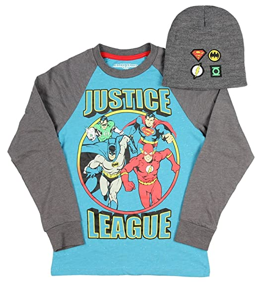 DC Comics Justice League Boy s Long Sleeve Graphic Shirt with Grey Beanie XL e31f89a31ff6